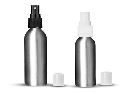 Brushed Aluminum Bottles, Sprayers And Cans
